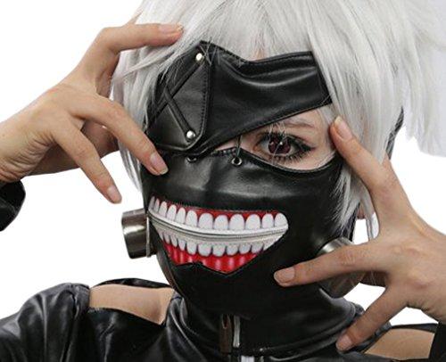Hengsong Nero Regolabile Tokyo Ghoul Cranio Ghost PU Pelle Chiusura Cosplay Partito Maschera Mask