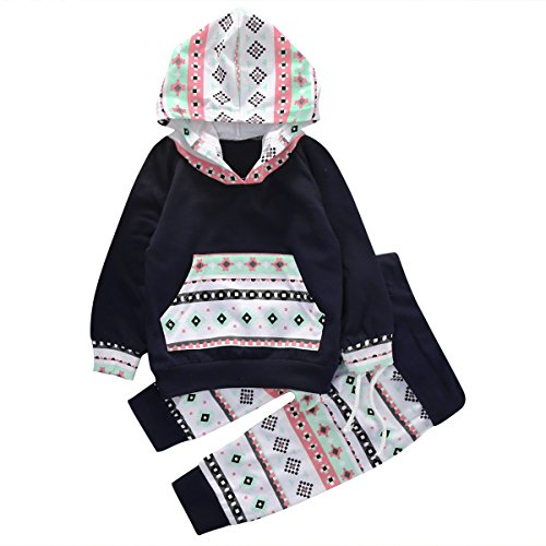Baby Girls Long Sleeve Geometric Print Hoodie Top and Pants Outfit Set (70(0-6M), Navy blue)