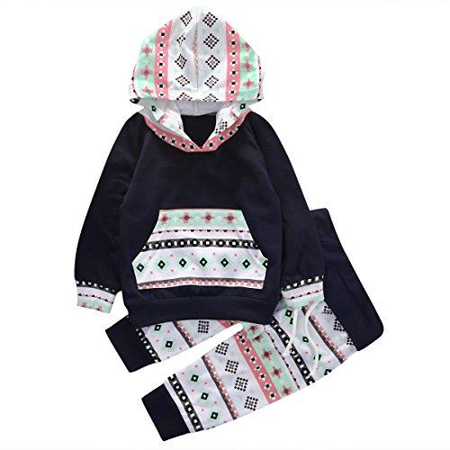 Baby Girls Long Sleeve Geometric Print Hoodie Top and Pants Outfit Set (70(0-6M), Navy blue)
