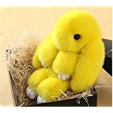 Soft Cute Simulation Rabbit Animal Fur Doll Plush Toy Stuffed Toy Kids Doll Key Chain Play Dead Rabbit (Yellow)