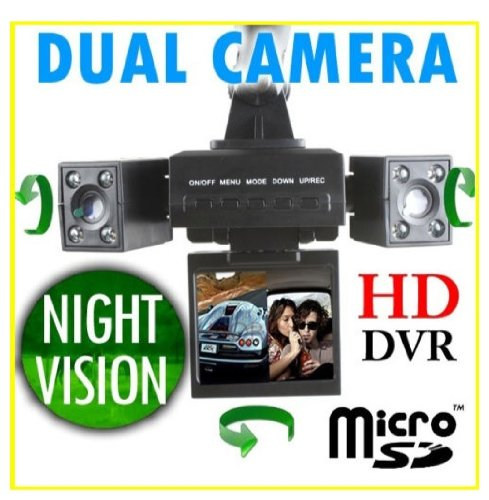 HD Dual Camera Car DVR Blackbox with LED IR Night Vision