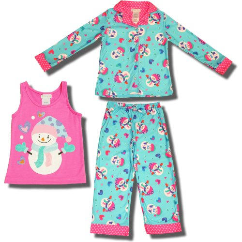 Holiday Snowman Flannel 3 Piece Pajamas For Girls - X-Small (4/5) front-1041755