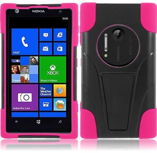 Lf Dual Protection Hybrid Case With T Stand, Lf Stylus Pen & Lf Screen Wiper Bundle Accessory For At&T Nokia Lumia Elvis 1020 (Black / Pink)