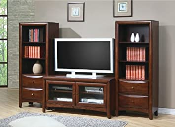 Walnut Finish Flat Panel TV Stand Entertainment Center