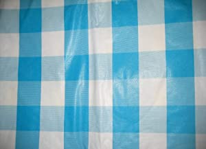Aqua Blue and White Checkered Vinyl Tablecloth (60 in Round)
