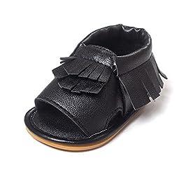 Fruitnut Unisex Baby Tassel Rubber Sole Non-slip Summer Prewalker Sandals First Walkers