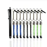 CCLV Stylus Pen Bundle including 9 Universal Bling Stylus Pens and 1 CCLV Stylus Pen (The colors of gifts will be random shipments) - Styli Compatible with All Touchscreen Devices including iPad 1, 2, 3, 4, Mini; iPhone 3, 3G, 3GS, 4, 4S, 5, 5S, 5C; iPod Touch 3, 4, 5; Android Tablets; Samsung Galaxy Tablet and More (green. blue, black)