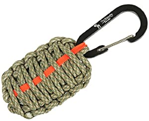 "The Friendly Swede (TM) Carabiner ""Grenade"" Survival Kit Pull with Tin Foil, Tinder, Fire Starter, Fishing Lines, Fishing Hooks, Weights, Swivels, Dobber, Knife Blade Wrapped in 7ft of 500 lb Paracord in Retail Packaging - Lifetime Warranty (ACU Digital with Orange Red Line)"
