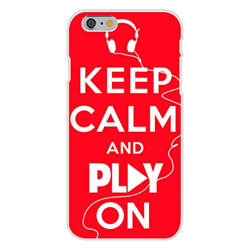 Apple Iphone 6 Custom Case White Plastic Snap On - Keep Calm And Play On Music Headphones On Red