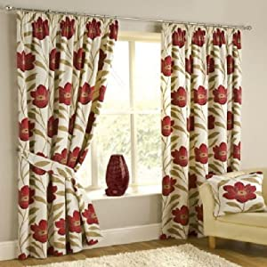 """Superb High Quality 100% Cotton Red Cream Poppy Pencil Pleat Lined Curtains 90"""" X 90"""" Oul by PCJ SUPPLIES"""