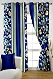 HOMEC Trendy Printed Curtain Set of 2 (Size - Window 46 X 60 inch/Color - Blue)