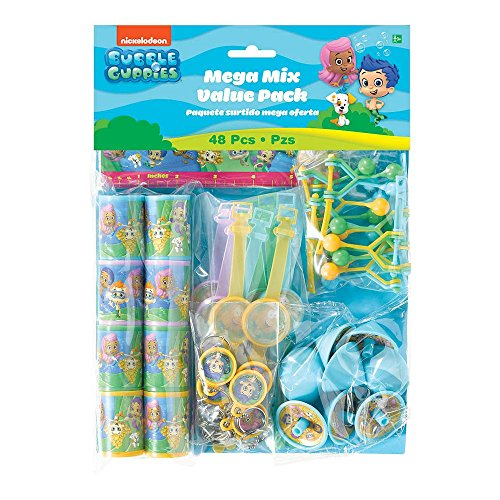 Aqua Awesome Bubble Guppies Birthday Party Favors Mega Mix Value Pack (48 Piece), Multicolored