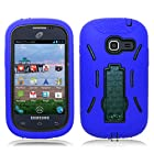 Sonne Case For Samsung Galaxy Discover/Centura S738C Blue Black Hybrid Heavy Duty Rugged Stand Cover (Straight Talk Phone) [DISC-GBKBL]