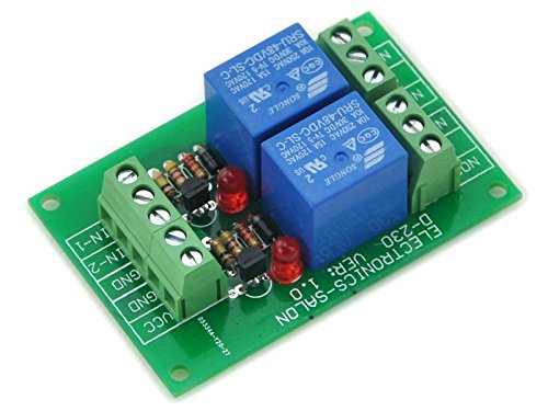 Electronics-Salon Two Spdt Power Relay Module, Dc 48V Coil, 10A 250Vac/30Vdc, Board.