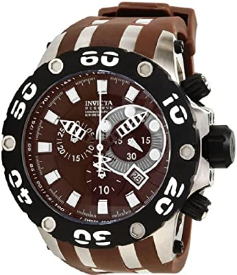 Invicta Men's 0907 Subaqua Reserve Chronograph Brown Dial Brown Polyurethane Watch