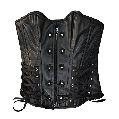 Il celibato 53055267.008M Burlesque corsetto di Overbust pelle Nappa con allacciatura ornamentali e dettagli, grande M, nero