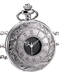 Hicarer Classic Quartz Pocket Watch with Roman Numerals Scale and Chain Belt