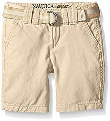Nautica Little Boys' Chino Short, Tan Acorn, 4