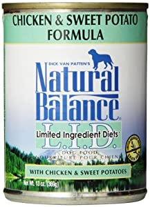 Natural Balance Canned Dog Food, Grain Free Limited Ingredient Diet Chicken and Sweet Potato Recipe, 12 x 13 Ounce Pack