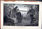 無効な車椅子の歩行の川岸の女性パラソル 1873