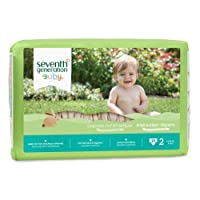 Seventh Generation Free and Clear Baby Diapers, Size 2, 180 Count