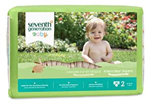 Seventh Generation Free and Clear Baby Diapers, Stage 2, 40 Count (Pack of 4)