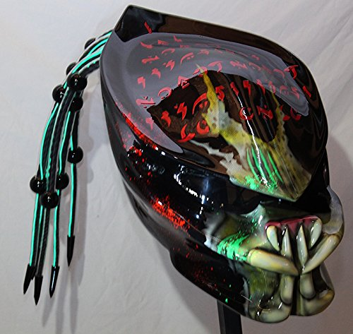 kustomzairbrushing Fiber Optic Green Predator Helmet (X-Large)