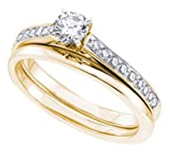 0.5 cttw 14k Yellow Gold Diamond Bridal Set (Sizes 4-10)