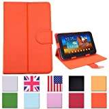 "HDE Universal 7"" Leather Folding Folio Tablet Case Cover (Orange)"