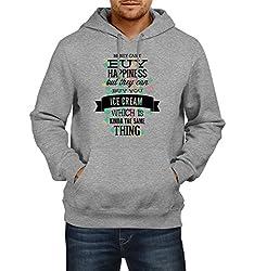 Fanideaz Men's Cotton Buy Happiness Hoodies For Men (Premium Sweatshirt)_Grey Melange_M