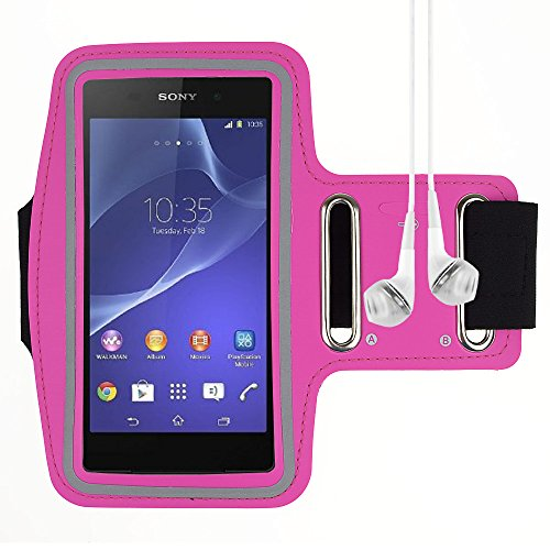 Active Sports Armband For Sony Xperia Z2 / Sony Xperia Z1 / Sony Xperia Z1 L39H And More Sony Smartphone - Rose + Vangoddy Headphone With Mic , White