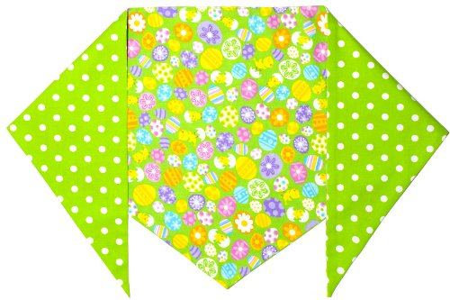 Easter Bandana for Dogs- Easter Eggs and Chicks, Green - X-Large - ties on a 21-28