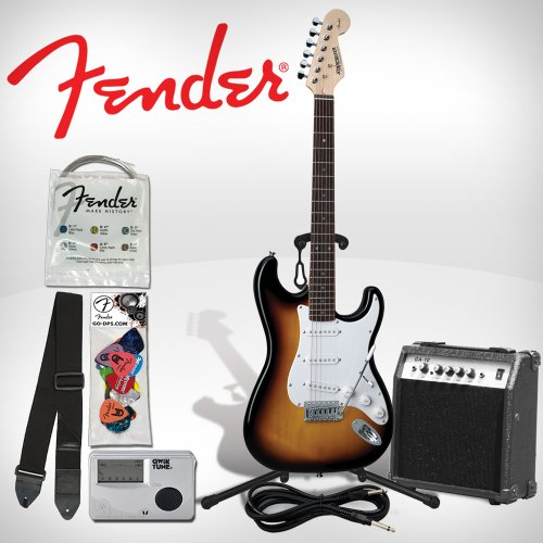 Fender 028001532-Kit02   Starcaster Perfect for Beginners Electric Stratocaster Guitar Kit – Sunburst