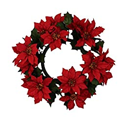 9-inch Diameter with 4-inch Inner Ring Artificial Poinsettia Candlering Candle Ring - Red