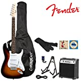 Fender Sunburst Electric Strat Guitar Kit - Includes: Guitar Stand, Strap, Gig Bag, 10-Watt Amp, 10-Foot Cable, Tuner, Strings, and GoDpsMusic Pick Sampler