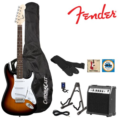 Fender Sunburst Electric Strat Guitar Kit – Includes: Guitar Stand, Strap, Gig Bag, 10-Watt Amp, 10-Foot Cable, Tuner, Strings, and GoDpsMusic Pick Sampler