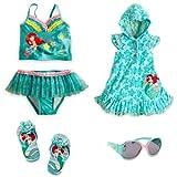 Disney Store Ariel Little Mermaid Swimsuit/Cover-Up/Sandals/Shades Size Medium