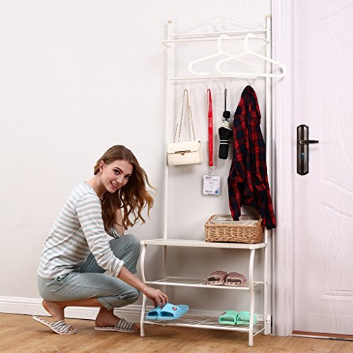 Entryway Bench Coat, Hat, and Shoe Rack White in Color Great for Front Door in Home or Office (Coat Rack Entryway compare prices)