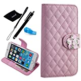 iPhone 6 Plus case, Camellia Diamond Crystal Designed with PU Leather Lady Style For Apple iPhone 6 Series (iPhone 6Plus(5.5-Inch), Lightpink)
