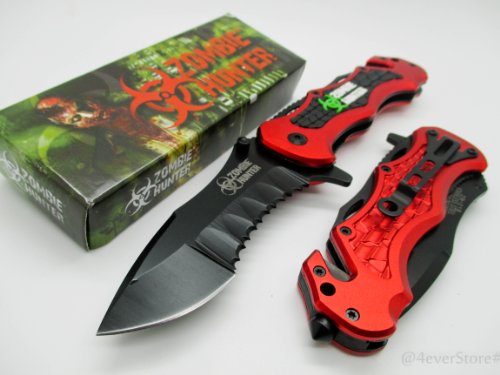 Zombie Hunter Assisted Opening Rescue Tactical Pocket Folding Collection Knife Tactical Outdoor Survival Camping Hunting - Red