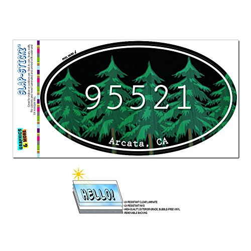 Graphics and More Zip Code 95521 Arcata, CA Euro Oval Window Bumper Glossy Laminated Sticker - Forest (Arcata Ca compare prices)