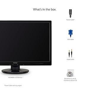 ViewSonic VA2446M-LED 24 1080p LED Monitor DVI, VGA (Color: Black, Tamaño: 24 Inch)