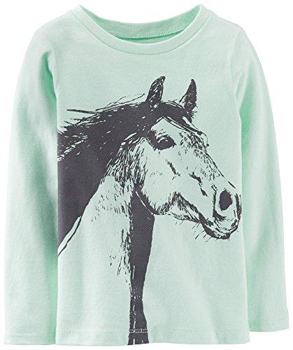 Carters Little Girls Horse Top 6 Mint Green front-159684