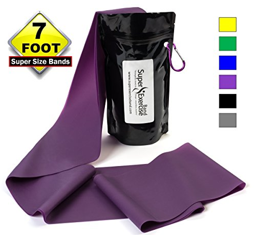 SUPER EXERCISE BAND® Heavy PURPLE Resistance Band. Your Home Gym Fitness Equipment Kit for Strength Training, Physical Therapy, Yoga, Pilates, Chair Workout | LATEX FREE For ALLERGIC SAFETY | 7 ft
