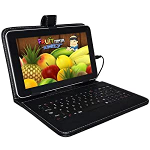 """Sanlise(TM) 9"""" INCH Tablet Stand with USB Keyboard - Black Faux Leather Carrying Case Black"""