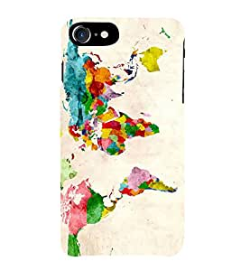 Fiobs World Map Colourfull Pattern Design Case Phone Back Case Cover for Apple iPhone 7 Plus (5.5 Inches)