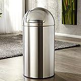 Großer PUSH CAN XL Mülleimer aus Stahl in chrom 50