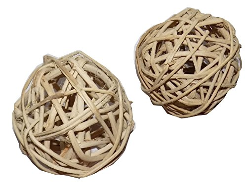All Natural Large Vine Balls – Chew Toy For Rabbits, Guinea Pigs, Chinchillas, Birds, Gerbils, Hamsters, and Other Small Pets (Set of Two 4 Inch Wicker Balls) 51cn5 2BAdtBL