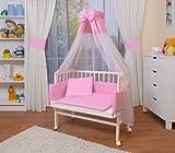 WALDIN Cuna colecho para bebé con equipamiento completo, lacado en blanco, 6 colores a elegir,rosa