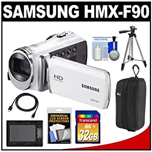 Samsung HMX-F90 HD Digital Video Camcorder (White) with 32GB Card + Case + Battery + Tripod + HDMI Cable + Accessory Kit